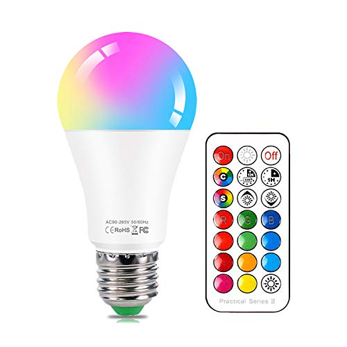 Lampadine Colorate LED E27 10W Dimmerabile RGBW Luce Fredda & Cambia Colore Lampadina con Telecomando, 12 scelte di colore, Decorazioni per la casa, Party, Bar
