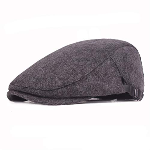 RICHTOER Newsboy Cap Beret Hombres Mujeres Gorras Planas Algodón Color sólido Sombrero al Aire Libre (Grey)