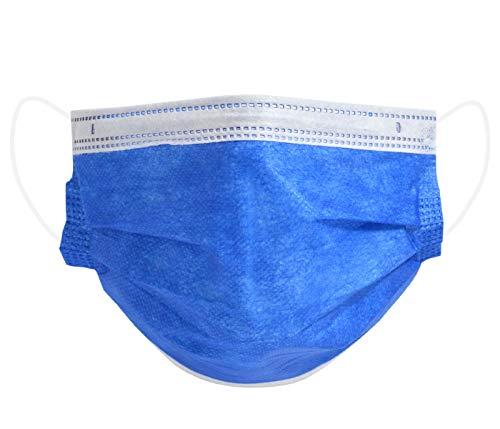 Mundschutz Maske Einweg Mund- Nasenbedeckung Gesichtsmaske 3-lagig Staubschutz Schutzmaske mit Ohrschlaufen schützt vor Verschmutzungen - 50 Stück dunkelblau (AM-03Z1)