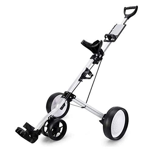 HLR Golftrolley Zieh Golfcarts 4 Wheel Golf Cart Push-Pull, Folding Golf Pull Trolley mit Getränkehalter, Compact Pull Caddy Cart, leicht transportieren und Falten