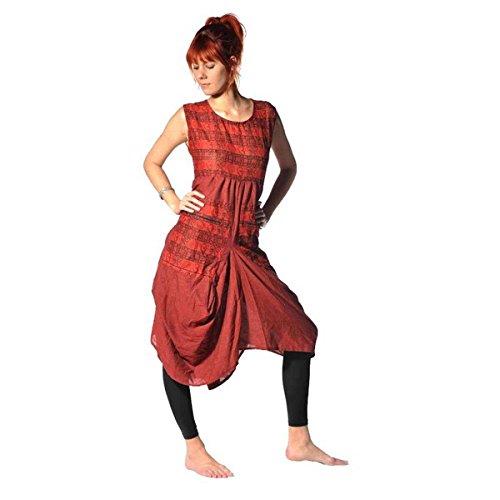 Kleid Trägerkleid Maxikleid Abendkleid Sommerkleid Strandkleid Kleider Ärmellos Ethno Goa Nepal (Rot)