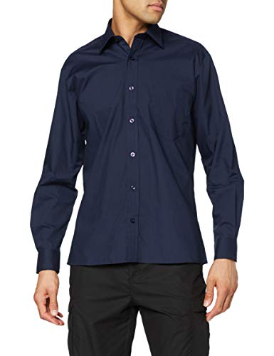 Premier Workwear Poplin Long Sleeve Shirt, Chemise Business Homme, Bleu Marine, 16.5