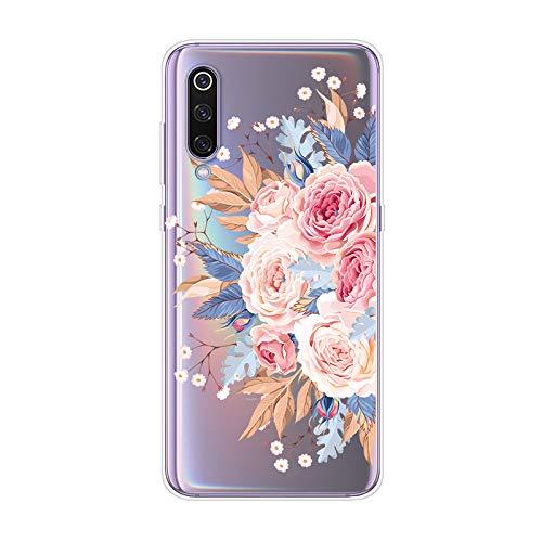 WIWJ Handyhülle für Xiaomi Mi 9 Hülle Weich TPU Case Mikroporös Design Ultra dünn Silikon Gel Cover Clear Transparent Durchsichtig Schutzhülle Mädchen Kratzfest Bumper Tasche-Rose
