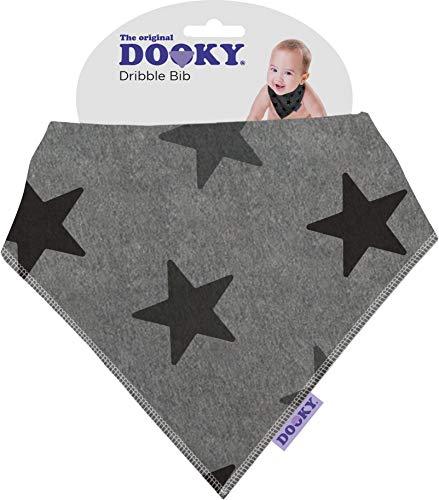 The Original Dooky Bavoir Bandana en coton, absorbant et réglable Grey Stars Bianco con Stelle Argento - Silver Stars