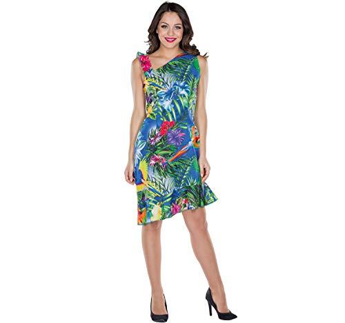 Damen Kostüm Hawaii Kleid Südsee Sommerkleid bunt Fasching Mottoparty (38)