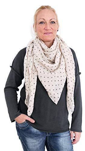 Trends für Dich Damen Schal Tuch Stola Dreieckstuch Sterne Print Baumwolle (959) (Puder nude)