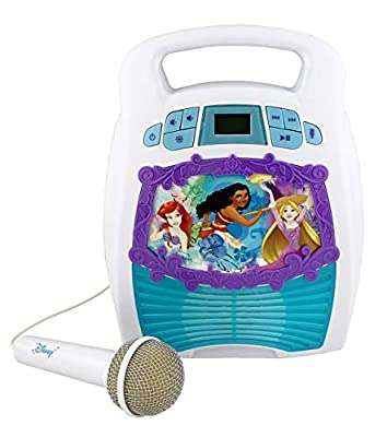 Disney Princess Bluetooth Portable MP3 Karaoke Machine Player Light Show Store Hours of Music built in Memory Sing Along using Real Working Microphone Usb Port Expand Content, Disney Multi Princess by Kid Designs