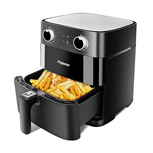 Phyismor Air Fryer,Max XL 5.8Qt, Electric Hot Air Fryers Oven Oillness Cooker with Temperature Knob Control, Aluminum Square Dishwasher Safe Nonstick Bakset,1700W,Matte Black