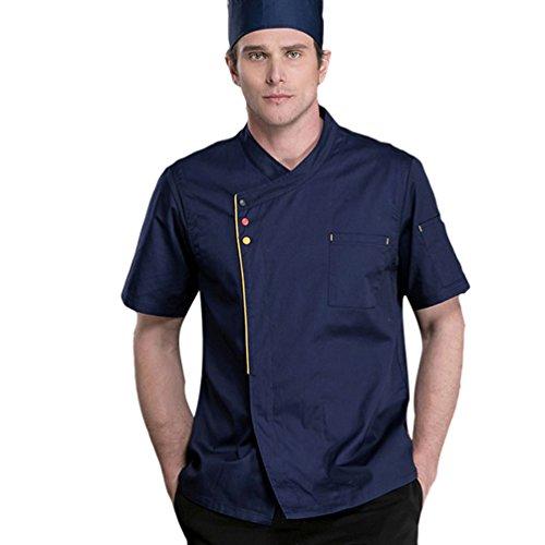 Dooxi Unisex Herren und Damen Sommer Kurzarm Kochjacke Mode Küche Hotel Uniform Berufsbekleidung Dunkelblau M