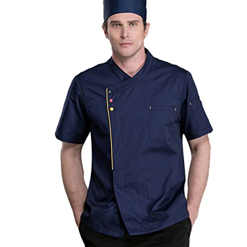 Dooxii Unisexo Hombre Mujeres Verano Manga Corta Camisa de Cocinero Transpirable Chaquetas de Chef Uniforme Cocina Restaurante Occidental Azul Oscuro XL