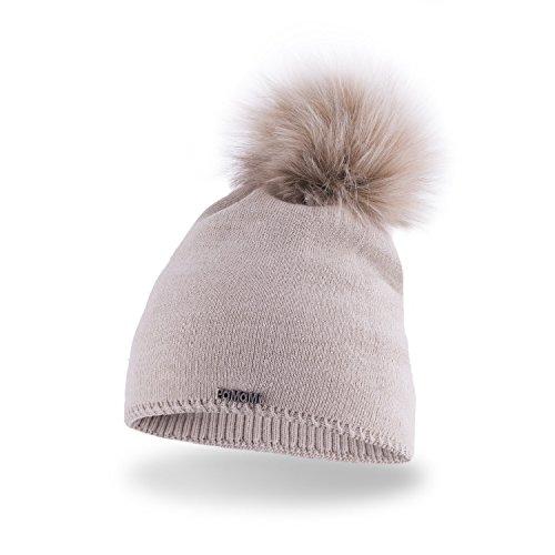 PaMaMi - Gorro de invierno para mujer, con pompón de pelo sintético y forro polar beige Talla única