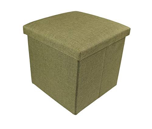 Ducomi - Puf plegable, cubo reposapiés, taburete de mezcla de lino, baúl...