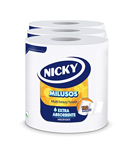 Nicky Milusos Papel de Cocina   3 rollos   Hojas de 2 capas, 535 hojas por rollo   Papel súper absorbente y resistente   Papel 100% certificado FSC