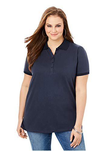 Roamans Women's Plus Size Polo Ultimate Tee 100% Cotton Shirt - 4X, Navy