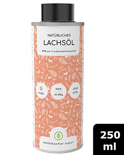 Wolfsbacher Natur - Natürliches Lachsöl Hunde [250ml] Lachsöl für Hunde aus Atlantik-Meer-Lachs, Kaltgepresst und hochdosiert mit Omega 3 und Omega 6