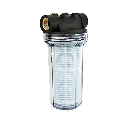 """Grafner Vorfilter für Hauswasserwerke und Gartenpumpen, mit Filtereinsatz, lange Ausführung, 1"""" IG und 2x 1"""" AG Adapter, 5,5 bar, 6000 l/h, Filter Pumpe"""