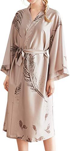 SwissWell Damen Morgenmantel Seide Satin Kimono Lange V Ausschnitt Robe Bademantel mit Federn und Blätter