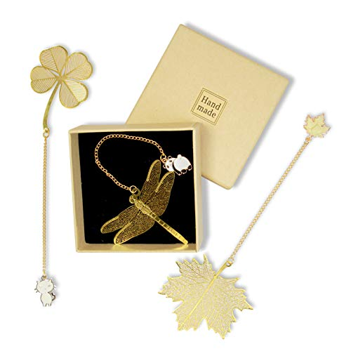 Bookmarks 3pc Metal Bookmarks Leaf Book Markers with Dragonfly Maple Leaf Clover and Cute Pendant Cute Bookmarks Set Gift for Women Girls Kids Book Lovers Readers Pack of 3