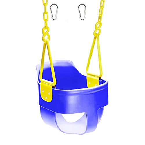 Squirrel Products High Back Full Bucket Toddler Swing Seat 3.0 with Finger Grip, Plastic Coated Chains and Carabiners for Easy Install - Blue