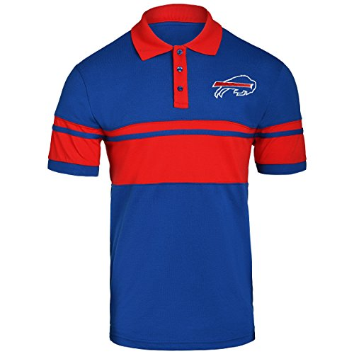 FOCO NFL Buffalo Bills Football Team Logo Cotton Stripe Polo Shirt, Team Color, Medium