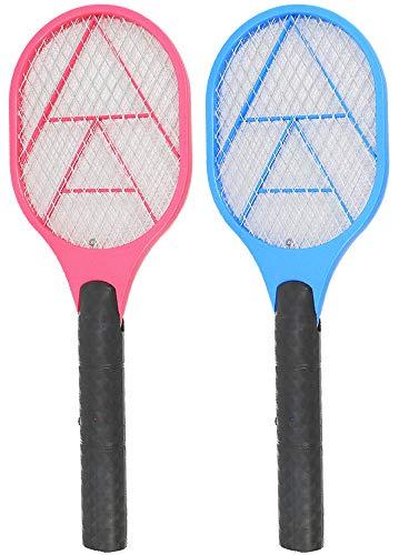 com-four® 2X Elektronische Fliegenklatsche - Insektenvernichter - Fliegenfalle in Schläger-Form [Auswahl variiert] (02 Stück - bunt)