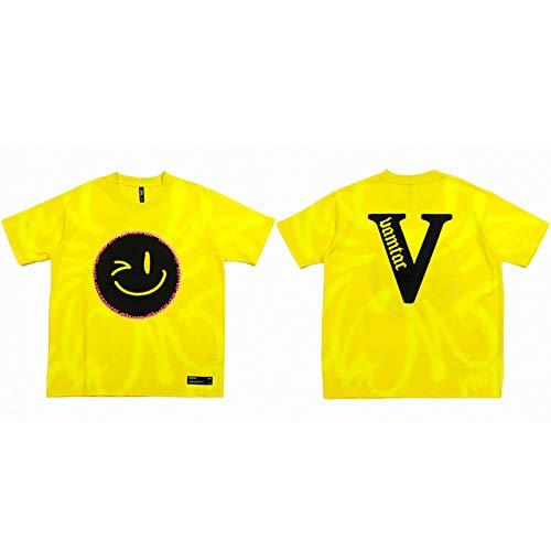 Camiseta Streetwear Hombres Smile Face Print Hip Hop Camiseta Oversize Harajuku Camiseta Manga Corta Algodón Amarillo Tops Tees Loose