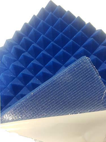 Pyramiden SELBSTKLEBEND Noppenschaumstoff,Akustik Schaumstoff, Akustikschaumstoff, Pyramiden Akustik, Dämmung (49 x 49 x 5 cm, Blau)