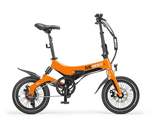 MiRiDER One (2021 Edition) Folding Electric Bike - Lightweight Foldable eBike | Thumb Throttle With Pedal Assist (Orange)