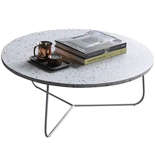 Bijzettafel eenvoudige zijsalontafel/theetafel, terrazzo tabletop, rondstalen tafelframe, stabiele ondersteuning, ontworpen voor moderne woonkamer, rond, wit