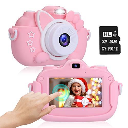 """2NLF Cámara para Niños 1080P 3.0"""" IPS HD Pantalla Táctil Cámara de Fotos Digital para Niños con Tarjeta de Memoria Micro TF 32GB Custodia Protettiva Cámara Infantil Regalos Juguete para 3 a 12 Años"""