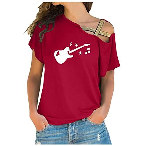 Lilygodx Camisetas Mujer Originales Baratas Camisetas de Vestir Mujer Verano Tallas Grandes Manga Corta Cuello Redondo Camisetas Heavy Metal Camisetas con Hombros Descubiertos (Rojo, XL)