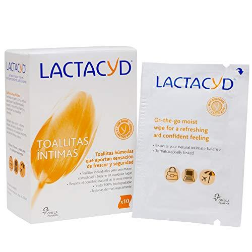 Lactacyd Toallitas húmedas - Higiene íntima - Aporta sensación de frescor y seguridad - 100% biodegradable - con ácido L-láctico natural - 10 toallitas individuales