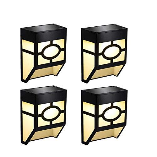 Luces Solares para Exteriores Jardín, LED Lámpara Luz Solar Impermeables para Valla Porche Pared Garaje Jardín Camino Decoración [2 Modos ] Luz Blanca / Cambio de Color (Paquete de 4)
