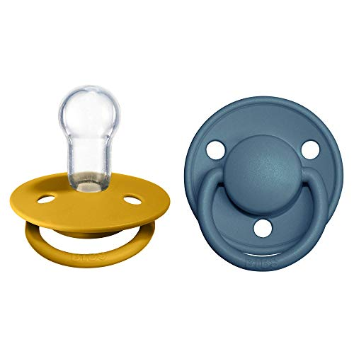BIBS De Lux Speen verpakking van 2 stuks. BPA-vrij, Ronde speen. Siliconen, Eén maat, Mustard/Petrol