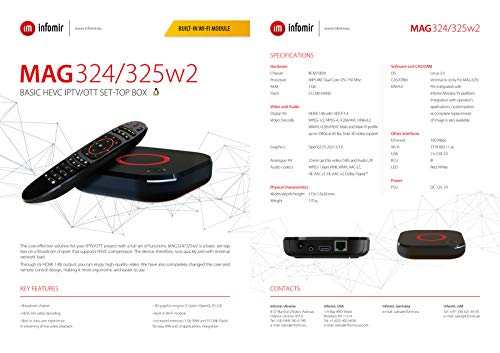 MAG 324w2 original Infomir & HB-DIGITAL IPTV Set TOP Box Multimedia Player Internet TV IP Receiver (HEVC H.256 Support) mit WLAN WiFi integriert 150Mbps (802.11 b/g/n) + HB Digital HDMI Kabel