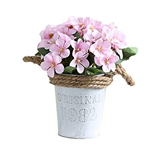 Silk Flower Arrangements Artificial and Dried Flower 1Pc Artificial Flower Iron Pot Bonsai Begonia Flower with Pot for Wedding Home Decoration DIY Craft Bride Wreath Fake Flowers