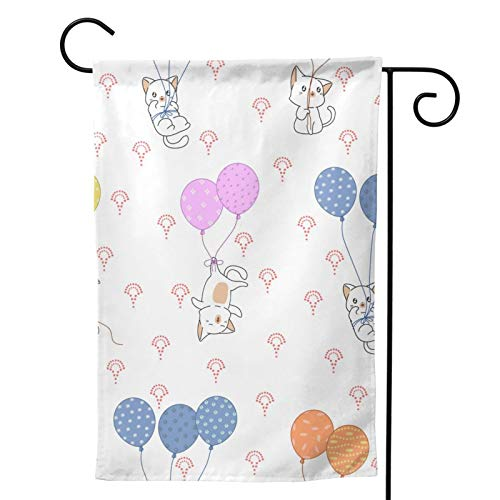 HXJIULI Cat and Colorful Balloons Garden Flag 12x18 Yard Flags Small Garden Flags
