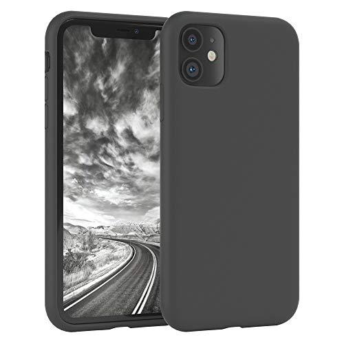 EAZY CASE Premium Silikon Handyhülle kompatibel mit iPhone 11, Slimcover mit Kameraschutz & Innenfutter, Silikonhülle, Schutzhülle, Bumper, Handy Hülle, Hülle, Softcase, Anthrazit