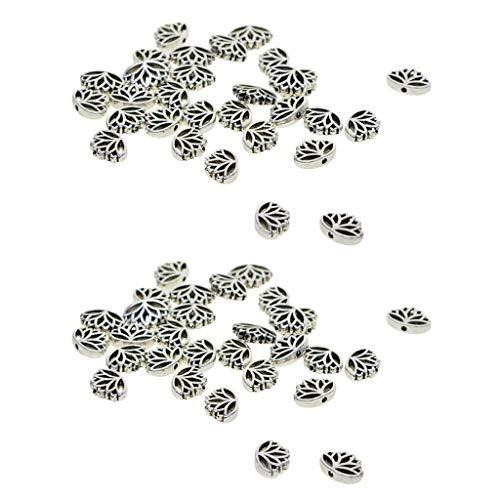 F Fityle 60x Flor de Loto de Plata Tibetana Ahueca hacia Fuera Cuentas Espaciadoras Sueltas Encantos de Metal