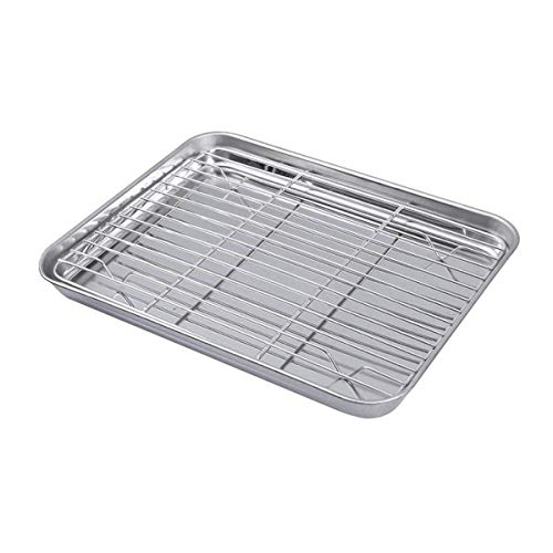 Bouddha Baking Sheet with Removable Cooling Rack Set, Stainless Steel Cookie Sheet Tray, Heavy Duty Nonstick Baking Pan Tray Set Bakeware, Dishwasher Safe
