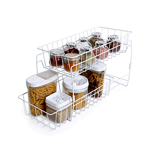 Smart Design 2-Tier Stackable Pull Out Baskets - Sturdy Wire Frame Design - Rust Resistant Vinyl...