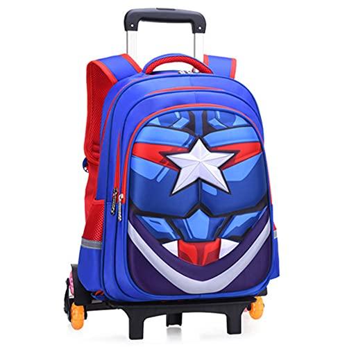 Xyh723 Niños Trolley Mochila Capitán América Mochila Escolar con Ruedas Superhéroe Mano Tirador Equipaje Niño Picnic Al Aire Libre Satchel Regalo De Cumpleaños,Blue-6 Wheels