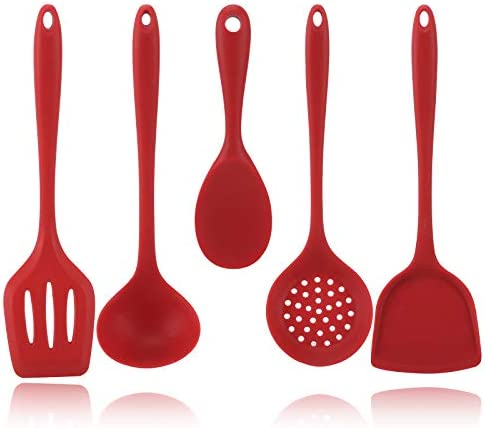 Gietinor Silicone Kitchen Utensils Set 5 Piece Spatulas Slotted Spoon Withstand High Temperature product image