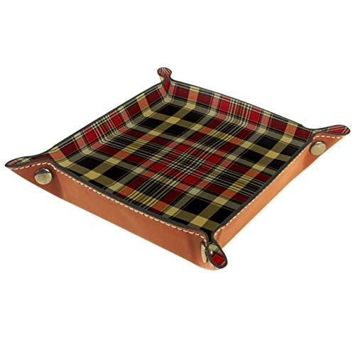 LynnsGraceland Bandeja de Cuero - Organizador - Patrón de Cuadros marrón Rojo - Práctica Caja de Almacenamiento para Carteras,Relojes,Llaves,Monedas,Teléfonos Celulares y Equipos de Oficina