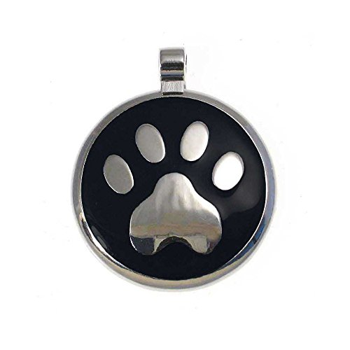 LuckyPet Paw Print Enamel Jewelry Pet ID Tag for Dogs and Cats, Personalized Engraving on The Back Side, Small (1 inch), Black