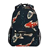 Sports Backpack,Koi Carp College School Book Bag Colour Travel Daypack 40cm(H) x29cm(W)