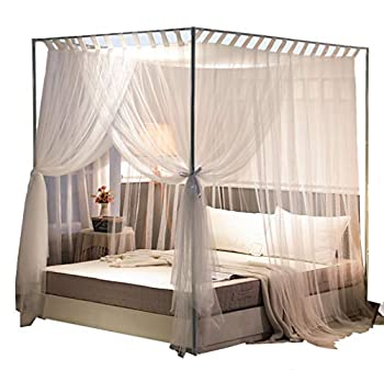 Mengersi Simple 4 Corners Post Curtain Bed Canopy Bed Frame Canopies Net,Bedroom Decoration Accessories Queen,White