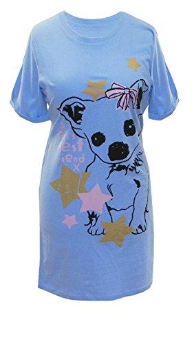 AdoniaMode Damen Nacht-Hemd Nachtkleid Sleepshirt Bigshirt Nachtwäsche nightware Rundhals Bedruckt Frontprint Kurzarm Hund Gr. 36/38