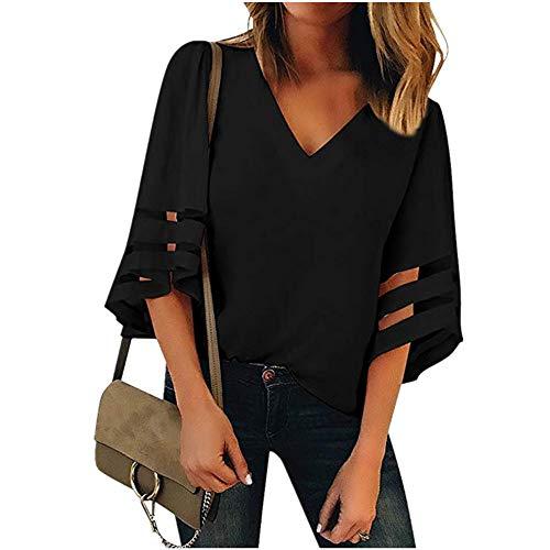 Camisa Mujer Puños Ahuecados con Medias Mangas Escote En V Tops Mujer Color Sólido Regular Fit Business Casual All-Match Elegante Blusa Mujer D-Black M