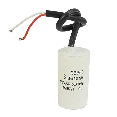 TOOGOO(R) CBB60 450VAC 8uF 5% Atado con Alambre Terminal Condensador de Arranque del Motor